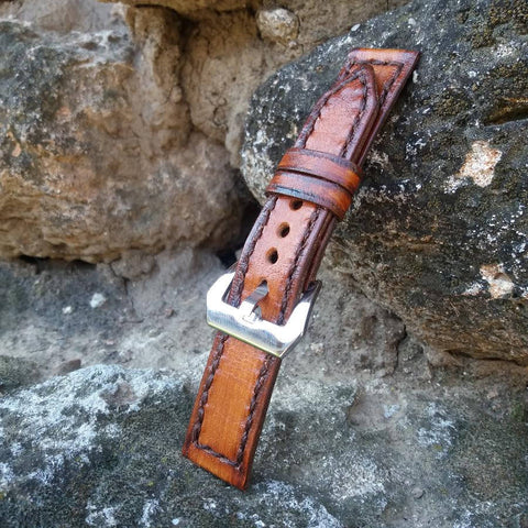 Handcrafted Watch Band 18mm Light Brown Leather and Dark Brown Edge Wrist Band - GORIANI