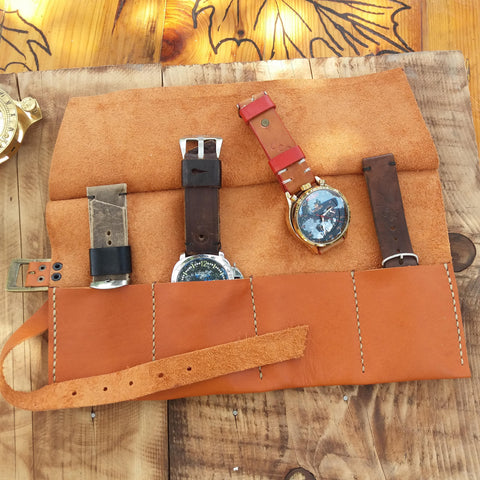 Watch Organizer Leather Watch Roll Case Men Travel Watch Roll Husband Gift - GORIANI
