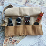 Men Travel Watch Roll  3,4,5 or 6 pocket Leather Roll up pencil case Leather Watch Holder - GORIANI