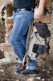 Waxed Canvas Rucksack Backpack Leather Canvas Rucksack Crazy Horse Leather Backpack - GORIANI