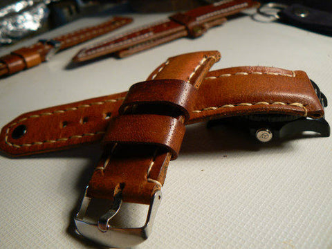 Genuine Leather Watch Band Strap Buckle for Apple watch 38mm Brown - GORIANI