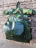 Backpack Swiss Army RollTop Leather Satchel Canvas Haversack - GORIANI