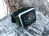 Green leather watchband Men bracelet wristband for iwatch apple watch - GORIANI