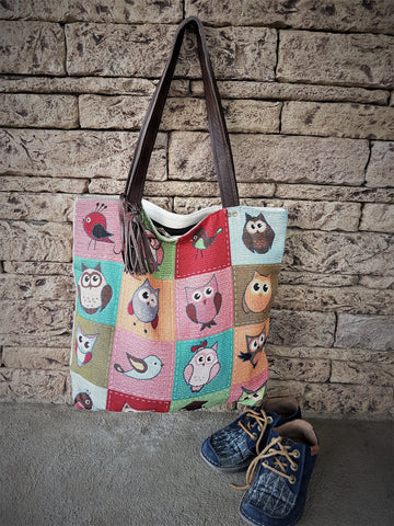 Tote Shopping Bag leather Canvas Totes Owl Purse Woman Bag Weekend Vacation Large - GORIANI