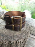 Men Brown Bracelet Vintage Style Leather Cuff Bracelet With Two straps and 2 Bronze Buckles - GORIANI