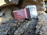 Rose Gold Watch Band Apple Tooled Leather Strap Women Rose Gold Apple Pink - GORIANI