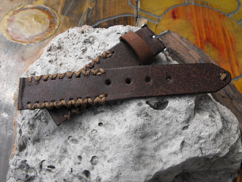 Personalized Gift Apple Watch Band Mens Rustic Watch Strap Handmade Brown - GORIANI