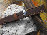 Watch Band 20 Leather Strap Brown Apple Rustic Wristband Italian Leather Gif For Him - GORIANI