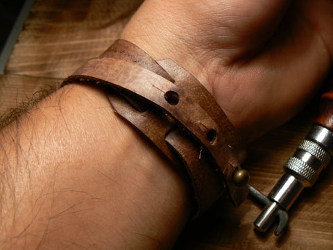 Mens Leather Bracelet Handmade Leather Double Wrap Bracelet Brown Leather Cuff - GORIANI