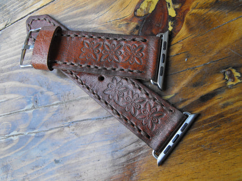 Apple 42 Mens Strap Genuine Leather Watch Band Tooled - GORIANI