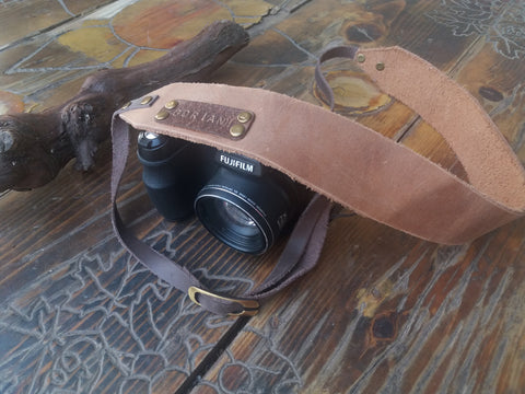 Custom camera strap brown dslr leather camera strap - GORIANI