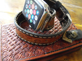 Apple Strap Double Wrap Flowers Design Women Watch Band Tooled - GORIANI