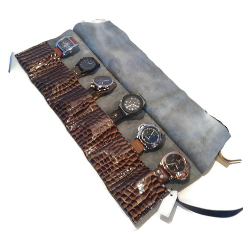 Travel Watch Roll Case for Men Leather Watch Roll Horween 3 4 5 6 8 slots waterproof - GORIANI