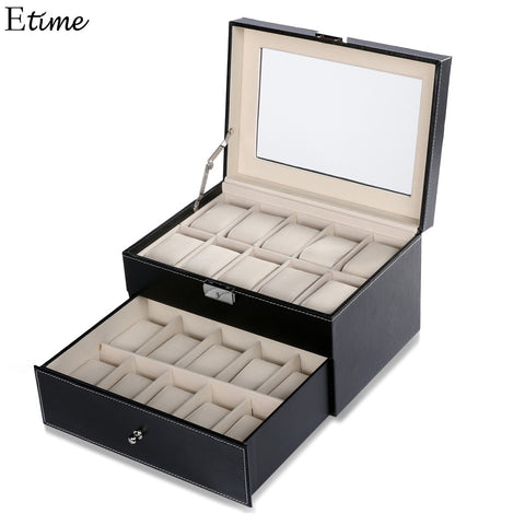 20 Grid Slots Jewelry organizer Watches Box Display Storage Box Case Leather - GORIANI