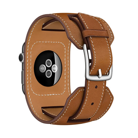 Extra Long Genuine Leather Band Double Tour Bracelet Leather Strap Watchband for Apple Watch 38mm 42mm - GORIANI