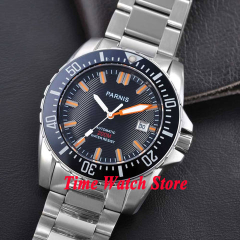 Parnis watch 43mm Black dial Sapphire glass stainless steel strap Ceramic Bezel Diver Automatic movement  Men's watch 122 - GORIANI