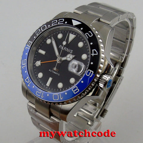 40mm Parnis black dial Sapphire glass GMT date window automatic mens watch - GORIANI