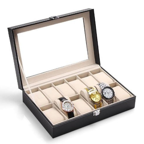 12 Grid Watch Boxes Black Vegan Leather Box Watch Display - GORIANI