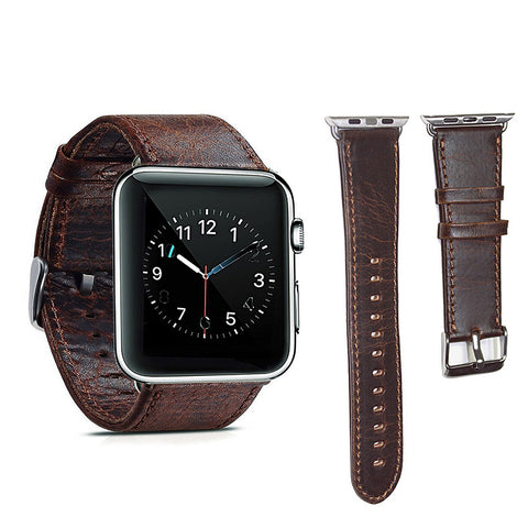 Apple watch band Genuine Leather 42mm Replacement band with Secure Metal Clasp Buckle for Apple Watch - GORIANI