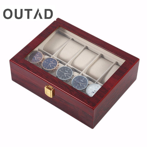 Luxury 10 Grids Red Color Wooden Watch Box - GORIANI