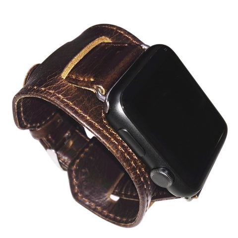 Apple Watch Band Leather Cuff Bracelet Wrist Watch Band with Adapter for Apple watch 42mm - GORIANI