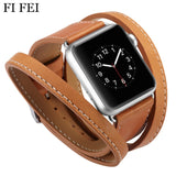Extra Long Leather Band Double Tour Bracelet Leather Strap Replacement Watchband for Apple Watch Series 1 2 3 38mm 42mm - GORIANI