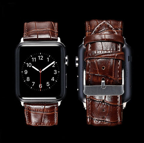 Black brown Genuine Leather Buckle Wrist Strap Band for iWatch Apple Watch 38/ 42mm - GORIANI