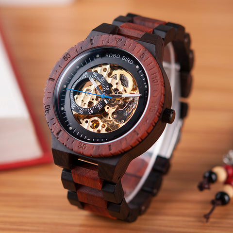 Wooden Watches Men Automatic Mechanical Wristwatch Waterproof in Gift Wood Box - GORIANI