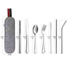 Load image into Gallery viewer, Devico Portable Utensils, Travel Camping Cutlery Set, 8-Piece including Knife Fork Spoon Chopsticks Cleaning Brush Straws Portable Case, Stainless Steel Flatware set (8-piece Silver)