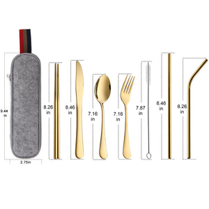 Devico Portable Utensils, Travel Camping Cutlery Set, 8-Piece including Knife Fork Spoon Chopsticks Cleaning Brush Straws Portable Case, Stainless Steel Flatware set (8-piece Gold)