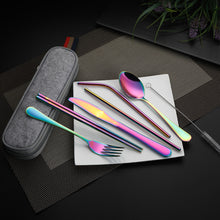 Load image into Gallery viewer, Devico Portable Utensils, Travel Camping Cutlery Set, 8-Piece including Knife Fork Spoon Chopsticks Cleaning Brush Straws Portable Case, Stainless Steel Flatware set (8-piece Rainbow)