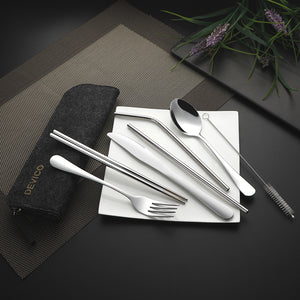 Devico Portable Utensils, Travel Camping Cutlery Set, 8-Piece including Knife Fork Spoon Chopsticks Cleaning Brush Straws Portable Case, Stainless Steel Flatware set (8-piece Felt bag black)