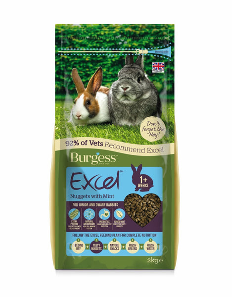 2kg Burgess Excel Rabbit Pellets with Mint for Junior and Dwarf Rabbits