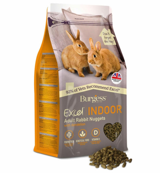 2kg Burgess Excel Indoor Adult Rabbit Pellets