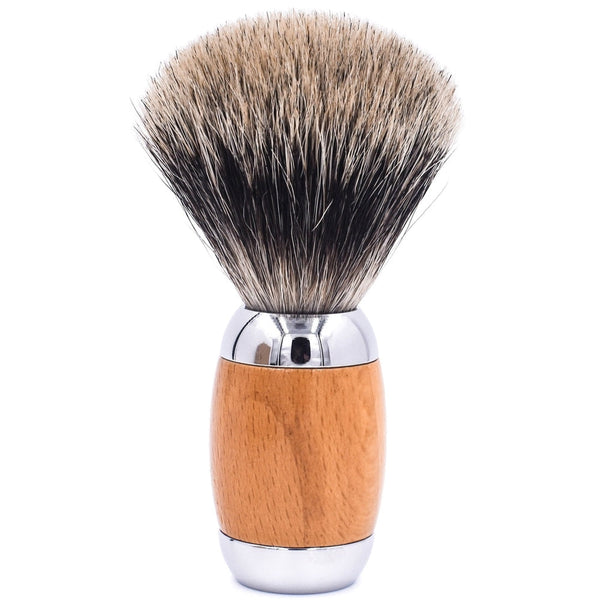Beechwood & Chrome Handle Deluxe Pure Badger Shave Brush & Stand (TSBPB) - by Taconic Shave