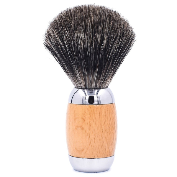 Beechwood & Chrome Handle Mixed Badger Shave Brush & Stand (TSBMB) - by Taconic Shave