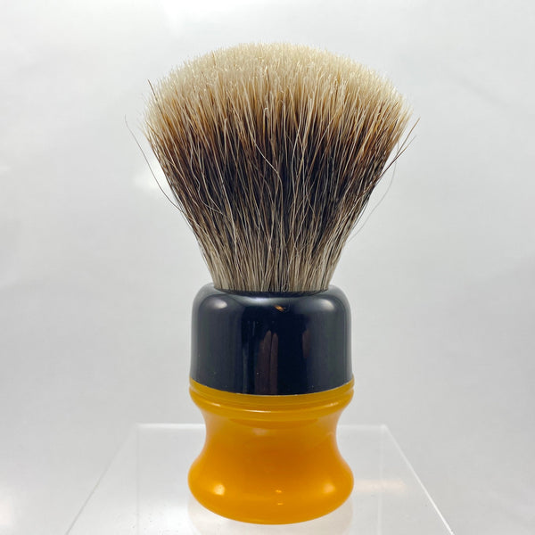 Black Butterscotch Shaving Brush with 22mm SHD Gealousy Fan Knot - by AP Shave Co.
