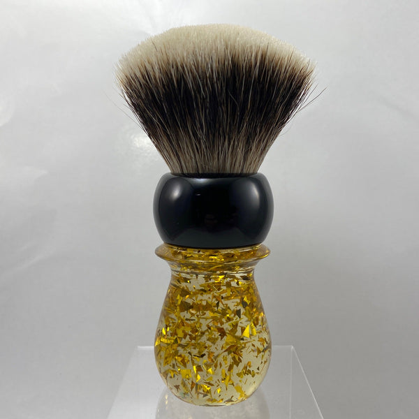 Black Gold Flake Shaving Brush with 28mm SHD Gealousy Knot (Bulb or Fan) - by AP Shave Co.