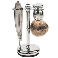 Deluxe Chrome Straight Razor and Shaving Brush Stand - by Parker