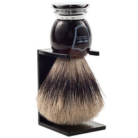 Faux Horn Handle Pure Badger Shaving Brush and Stand (HHPB) - by Parker