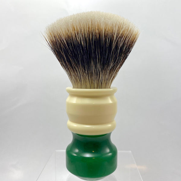 Ivory Green Shaving Brush with 26mm SHD Gealousy Knot (Bulb or Fan) - by AP Shave Co.