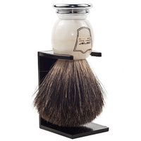 Ivory Marbled Handle Black Badger Shaving Brush and Stand (MIBB) - by Parker