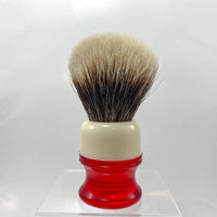 Ivory Red Shaving Brush with 20mm SHD Gealousy Bulb Knot - by AP Shave Co.