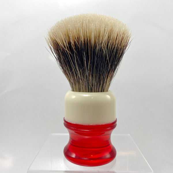 Ivory Red Shaving Brush with 22mm SHD Gealousy Fan Knot - by AP Shave Co.