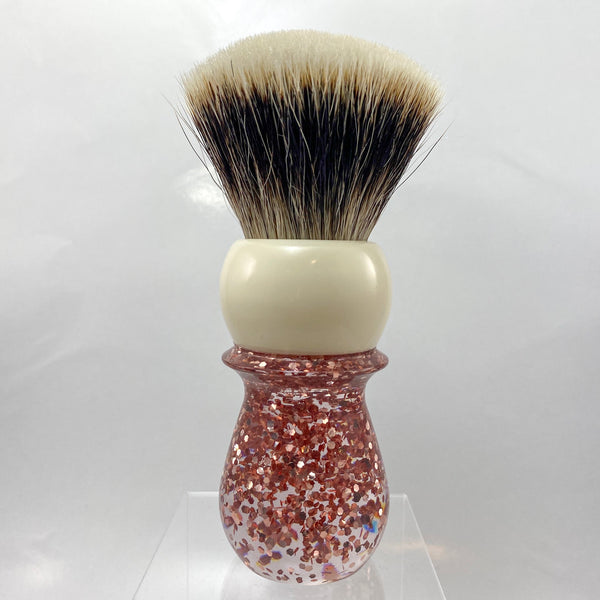 Ivory Rose Gold Flake Shaving Brush with 28mm SHD Gealousy Knot (Bulb or Fan) - by AP Shave Co.