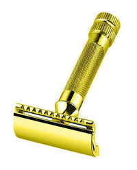 Merkur 34G Double Edge Safety Razor, Straight Cut, Extra Thick Handle, Gold-Plated