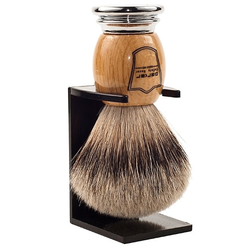 Olivewood Handle Silvertip Badger Shaving Brush and Stand (OWST) - by Parker