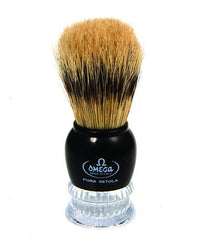Omega Boar Bristle Shaving Brush with Faux Chrome ABS Handle