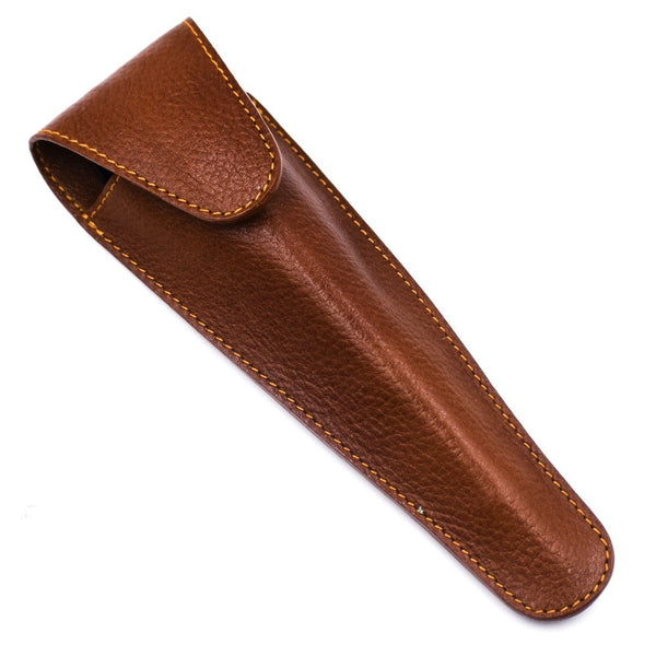 Saddle Brown Leather Travel Razor Case for Long Handle Cartridge Razors (LP2SADDLE) - By Parker