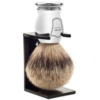 Silvertip Badger Chrome Handle Shaving Brush and Stand (CHST) - by Parker